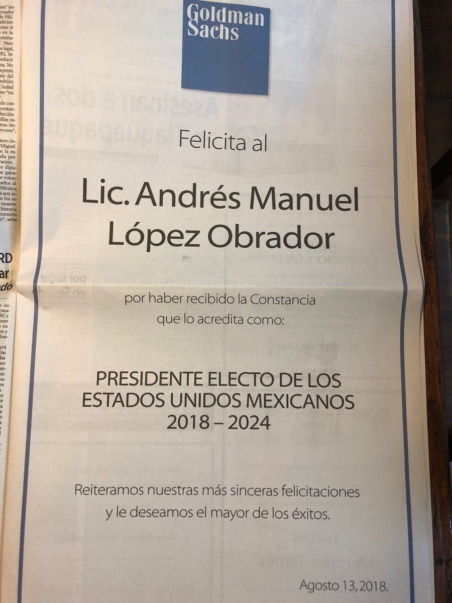 Full page ad in today's Reforma newspaper. Que amables! <br>http://pic.twitter.com/cJWMHRHXgn