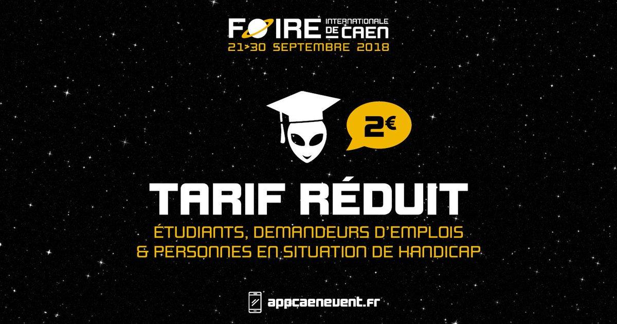 #FoiredeCaen : Cette année, le tarif réduit passe de 5€ à 2€ pour les étudiants, demandeurs d'emploi et personnes en situation de handicap 🎓♿🎉 ➡️ A retrouver aux guichets du #ParcExpoCaen en septembre prochain ! https://t.co/fYXJv51Fy1