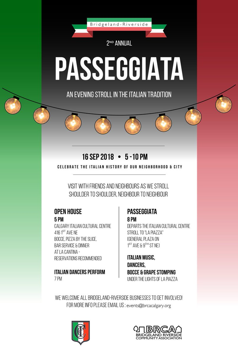 Mamma mia! It's coming back, cooler and more spettacolare than ever: the 2nd Annual #Bridgeland #Passeggiata is just one month away. What a way to rock our new Village Piazza! Mark your  peeps #yycevents #yycca<br>http://pic.twitter.com/H8dYinO7Od