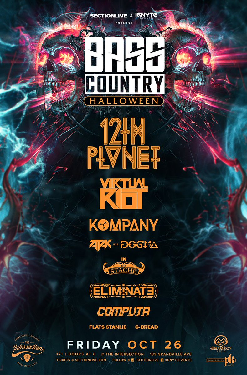 Bass Country Halloween at The Intersection w/ @12thplanet @Virtual_Riot @Kompanymusic @AttakMusic b2b @DOGMAmusique @eliminatemusic @computamusic @flatsstanlie @mfgarlicbread on Friday, October 26th!  Venue presale 8/16 at 10am with password SECTIONLIVE On sale 8/17 at 10am <br>http://pic.twitter.com/nmkmYKMsVj