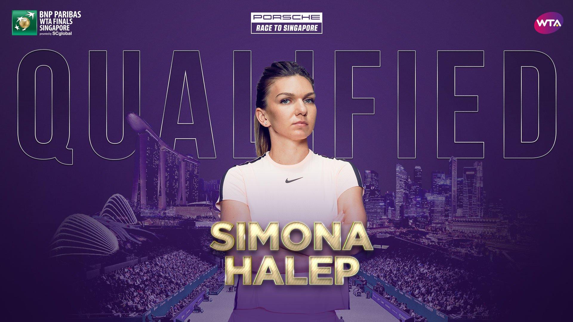 .@Simona_Halep is the first player to qualify for @WTAFinalsSG--> https://t.co/ewLuUkkVdD  @Porsche https://t.co/CidzDw6E62