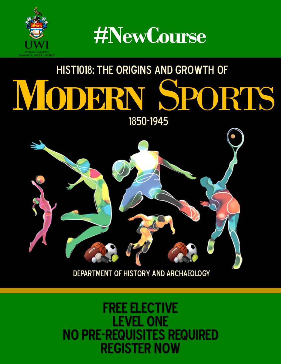 #NewCourse Why simply stream or play your favourite games?  Discover where, how and  when they all began. Get credits and equip yourself with the skills and   knowledge vital to the booming industry of sports.  Register for HIST1018: Origins and Growth of Modern Sports 1850-1945.<br>http://pic.twitter.com/nMhtMmgSuN
