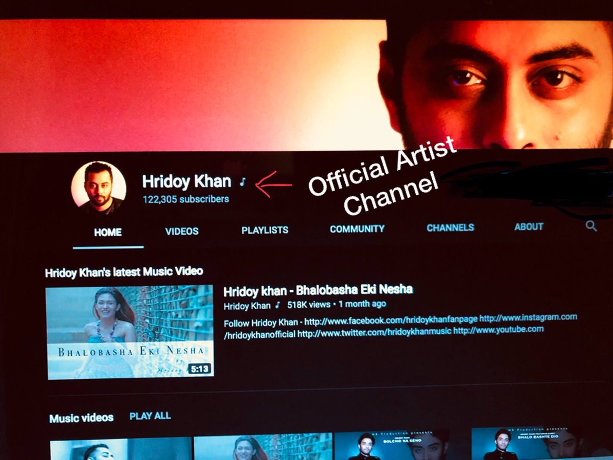 Hridoy Khan On Twitter My Youtube Channel Https T Co H6ba0gkpvd Is Now An Official Artist Channel U Can See A Music Note Next To The Channel Name Subscribe Now And Get All My Music