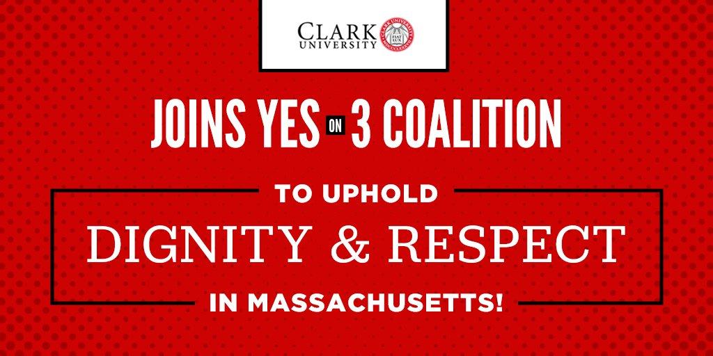 Welcoming @ClarkUniversity—the 24th member of our #YesOn3 college/university coalition across #Massachusetts. Thanks for standing with our #transgender neighbors to uphold #TransLawMA! https://t.co/T7rzbALDbn #MAPoli