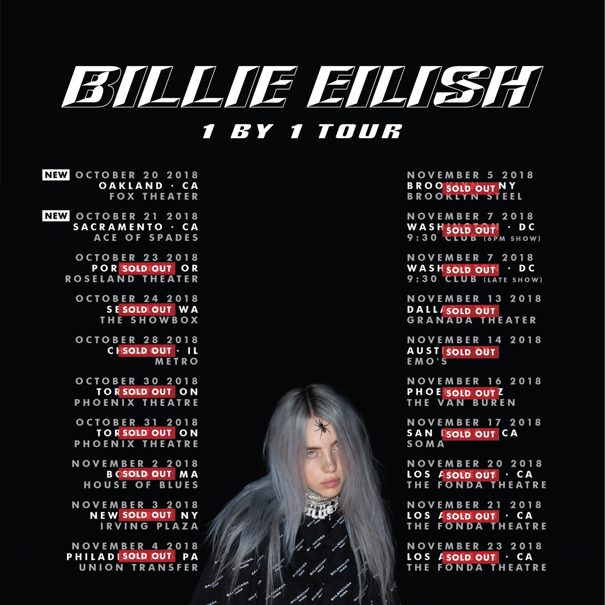 NEW '1 BY 1' TOUR DATES IN CALIFORNIA ADDED sign up for early access smarturl.it/billieeilishem…