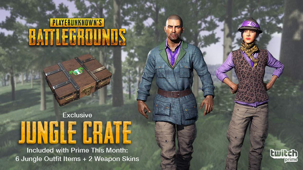Welcome to the Jungle!   The #TwitchPrime EXCLUSIVE Jungle Crate comes to @PUBG on 8/17!  Learn more:  https:// watch.twitch.tv/2MEYYXu  &nbsp;  <br>http://pic.twitter.com/ADYb0ishWB