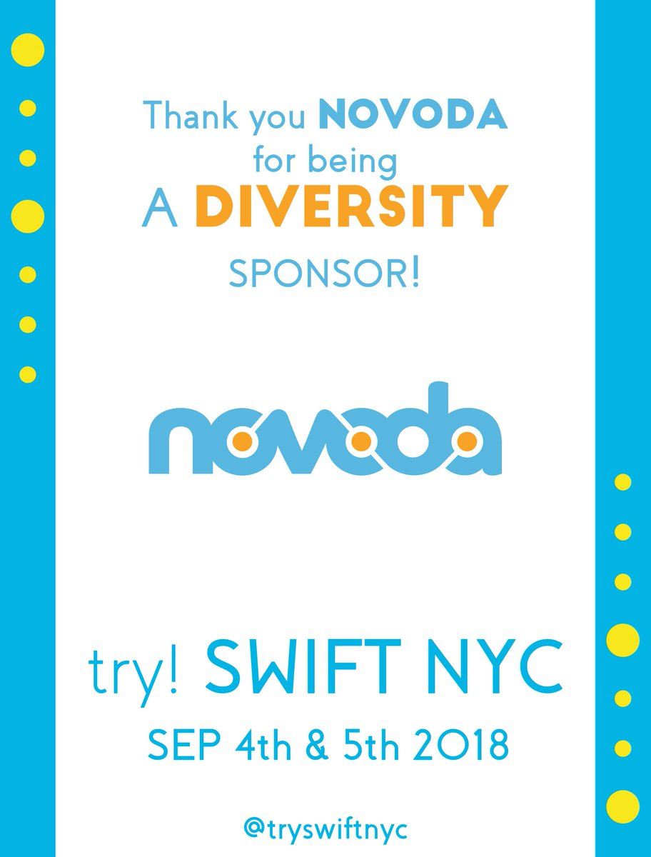 Last week, we gave away over 20 diversity tickets thanks to our sponsors! Thx @novoda for joining in building our community  #swiftlang #iosdev #tryswiftnyc<br>http://pic.twitter.com/S3lE0n4Gkg