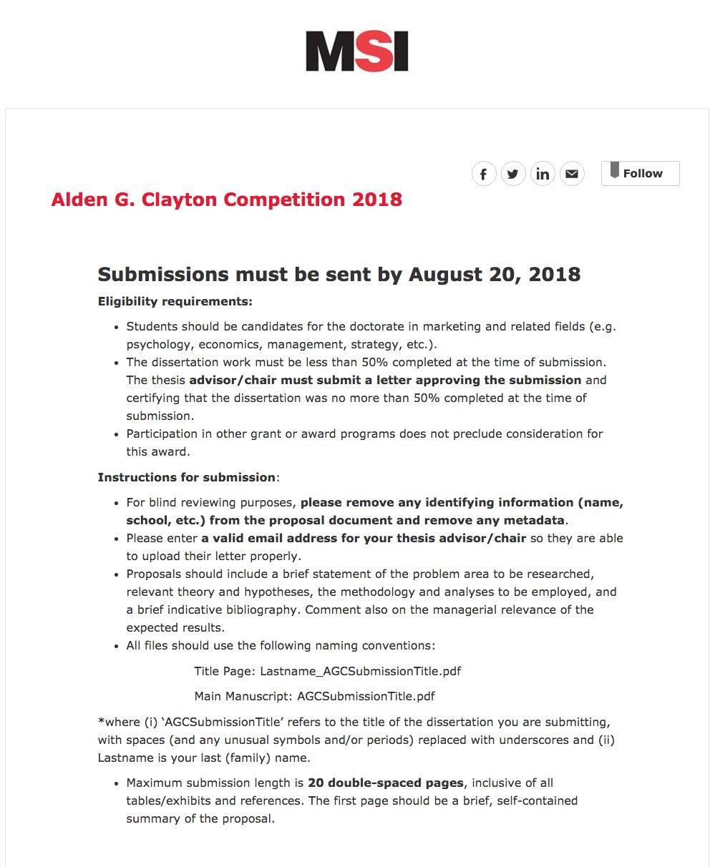 msi clayton dissertation award