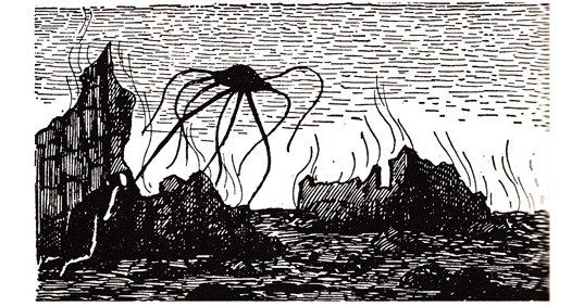 Remember H.G. Wells, who died on this day in 1946, with Edward Gorey's haunting illustrations for 'The War of the Worlds' https://t.co/Clk2BzndQK