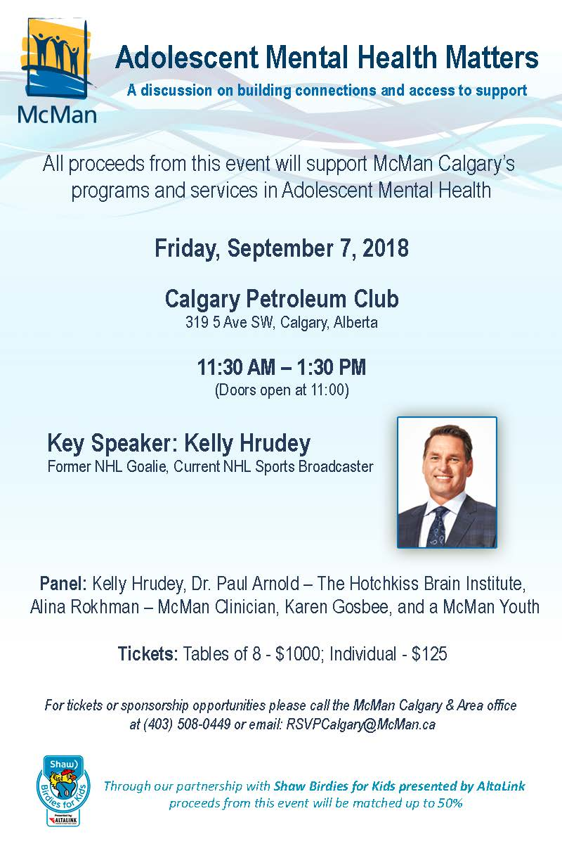 McMan Calgary invites you to the #Adolescent #MentalHealth Matters Luncheon September 7. This event will feature Keynote Speaker Kelly Hrudey followed by a panel discussion around Adolescent Mental Health #yycevents #yycfundraiser #MentalHealthAwareness #MentalHealthMatters<br>http://pic.twitter.com/gIbtoXSL8D