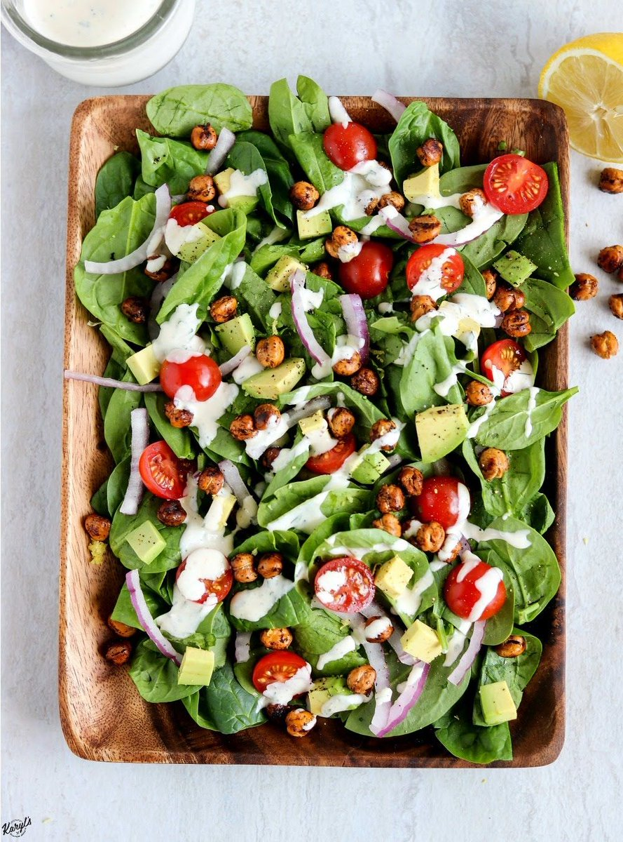 I can eat roasted #chickpeas by the handful...and then sometimes I put them on my Roasted Chickpea #Spinach #Salad  https:// buff.ly/2AXoE04  &nbsp;   #glutenfree @GoyaFoods #healthyeats #meatlessmonday <br>http://pic.twitter.com/y72LHDiWLj