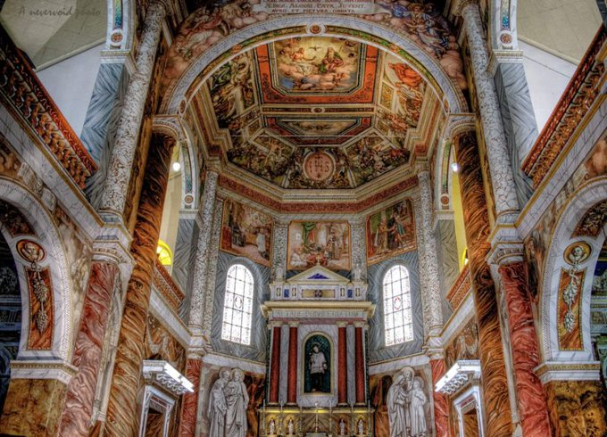 Had the wonderful experience, today, of showing my father images of the work @INTACHIndia is doing to restore the beautiful late-19th-c. paintings in the Cappella di San Luigi, the chapel of his old school, St Aloysius College, Mangalore. They were painted by Antonio Moscheni. Photo