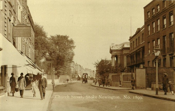 Stoke Newington Church St looking East. Abney Chapel can be seen on the right. It sustained severe bomb damage in WW2. The Victorian houses where the fire station is now can be seen on the left. They were built on the site of Fleetwood House; a 60-Room mansion (1635-1872) Photo