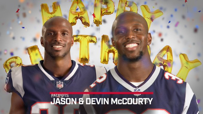 Fellow Patriot teammates and their \twins\ wish Devin and Jason McCourty a Happy Birthday!