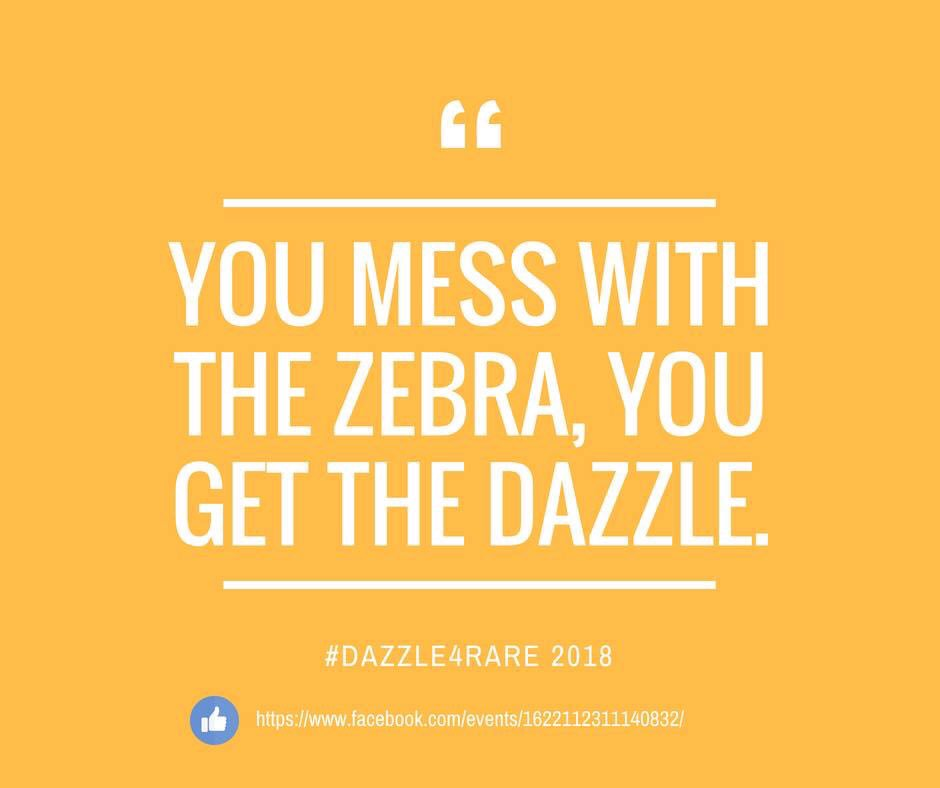 """#dazzle4rare, a pack of zebras  is called a dazzle. Zebras represent #rarediseases. """"When you hear hoof beats think of horses not zebras"""" instead, sometimes it is the zebra that stands out in front of the crowd. The ones who don't fit the mold. <br>http://pic.twitter.com/G44neLtGsS"""