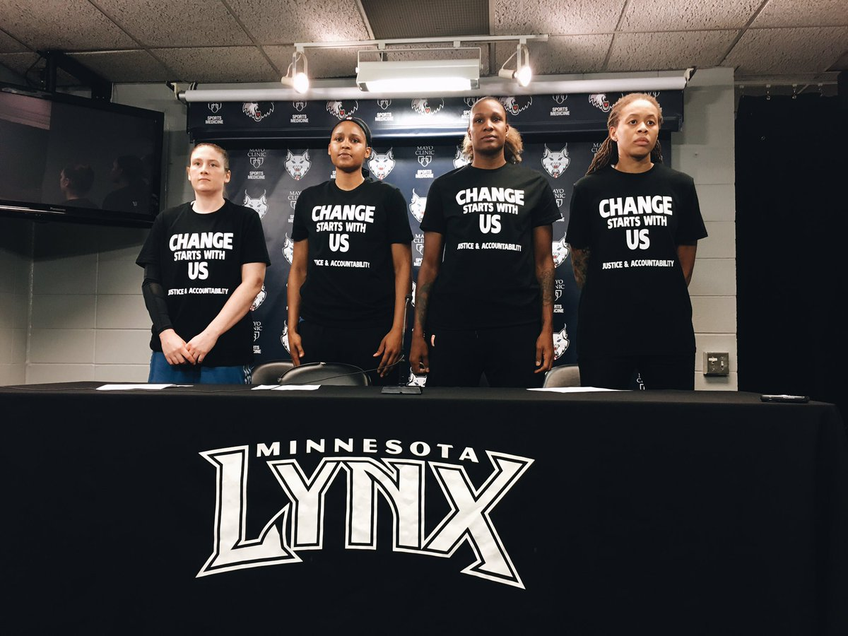 Remember: Lindsay Whalen was one of the first white athletes to get involved in the BLM movement. In 2016 she joined the 3 other Lynx captains -- Moore, Augustus, and Brunson -- to hold a pre-game press conference about police brutality. This was months before anyone took a knee.