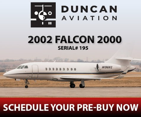 2002 #Falcon2000 available now through @DuncanAviation  Schedule your pre-buy now! See details at  http:// ow.ly/HGRa30lo4xl  &nbsp;    #bizjet #bizav #aircraftforsale #privateaviation #privatejet #privateflying #jetforsale #businessaviation<br>http://pic.twitter.com/0uxFO8FZmt