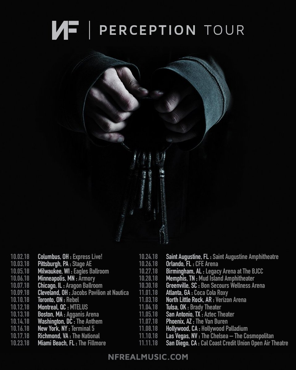 Here are the rest of the Perception Tour dates !! Presale for new dates starts Wednesday at 10AM local. Sign up on  http:// nfrealmusic.com  &nbsp;  <br>http://pic.twitter.com/hkVvkJ6TLM