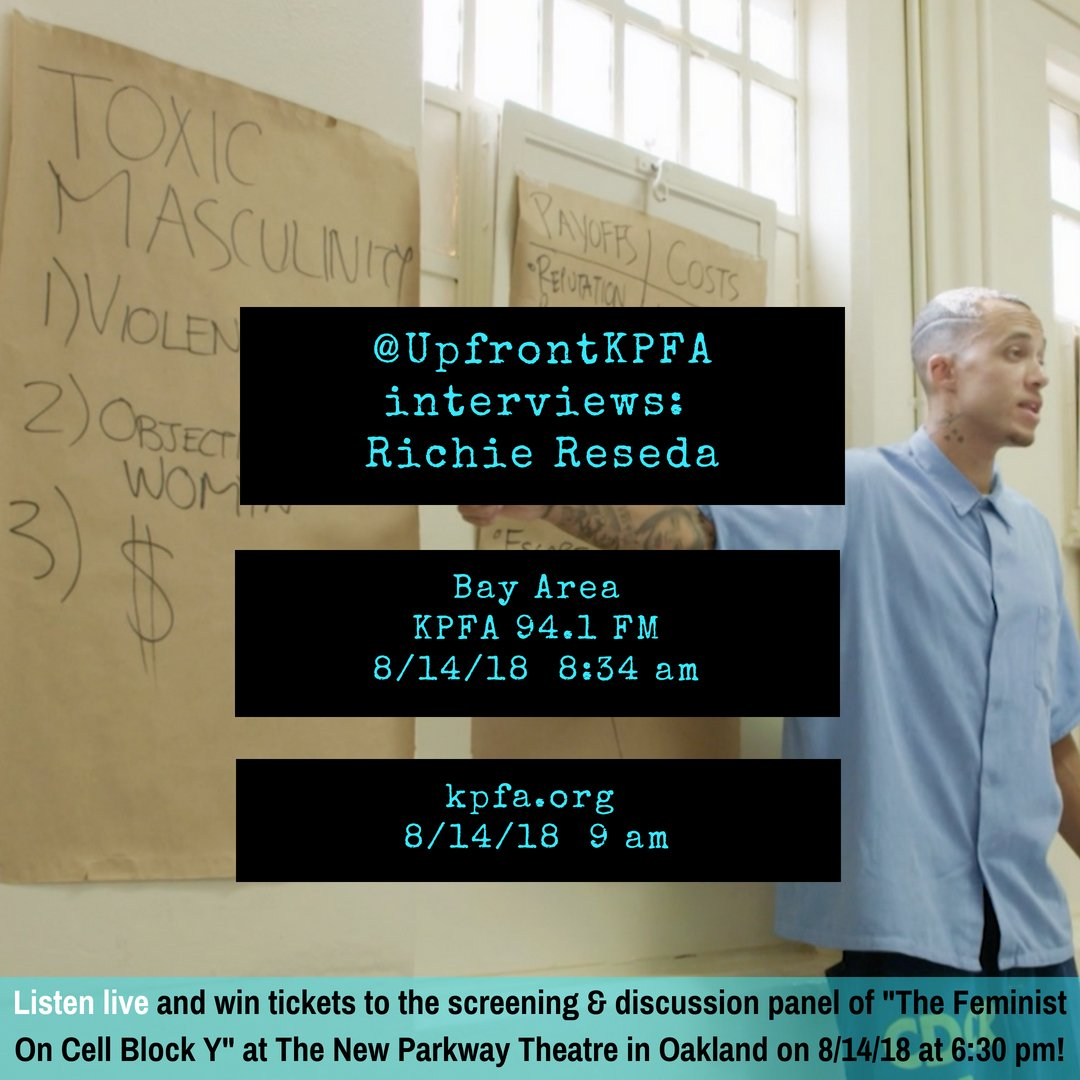 Tomorrow I get to talk deeper about how bell hooks freed so many of our spirits in prison on @UpFrontKPFA . They also will give away 2 tickets to &quot;#TheFeministOnCellBlockY&quot; showing/panel going down at @TheNewParkway 8/14/18 6:30 pm!  (shout to @bellhooks !)<br>http://pic.twitter.com/cxKmUapNrm