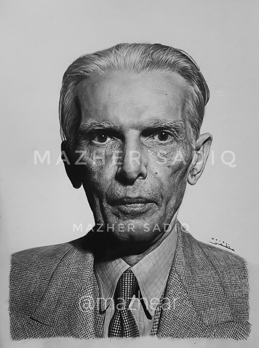 Mazhar sadiq on twitter pencil sketch of quaid e azam muhammad ali