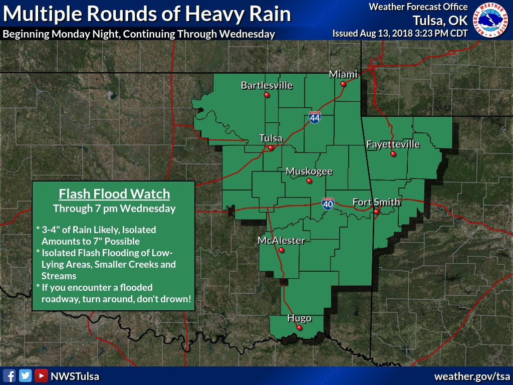 A significant amount of rain is approaching our area. @NWStulsa has issued a #FlashFlood watch for our area until #Wednesday.  Now is the time to check your wiper blades. Remember, #TurnAroundDontDrown let's be safe during this soggy week!<br>http://pic.twitter.com/PPeYLy29QW