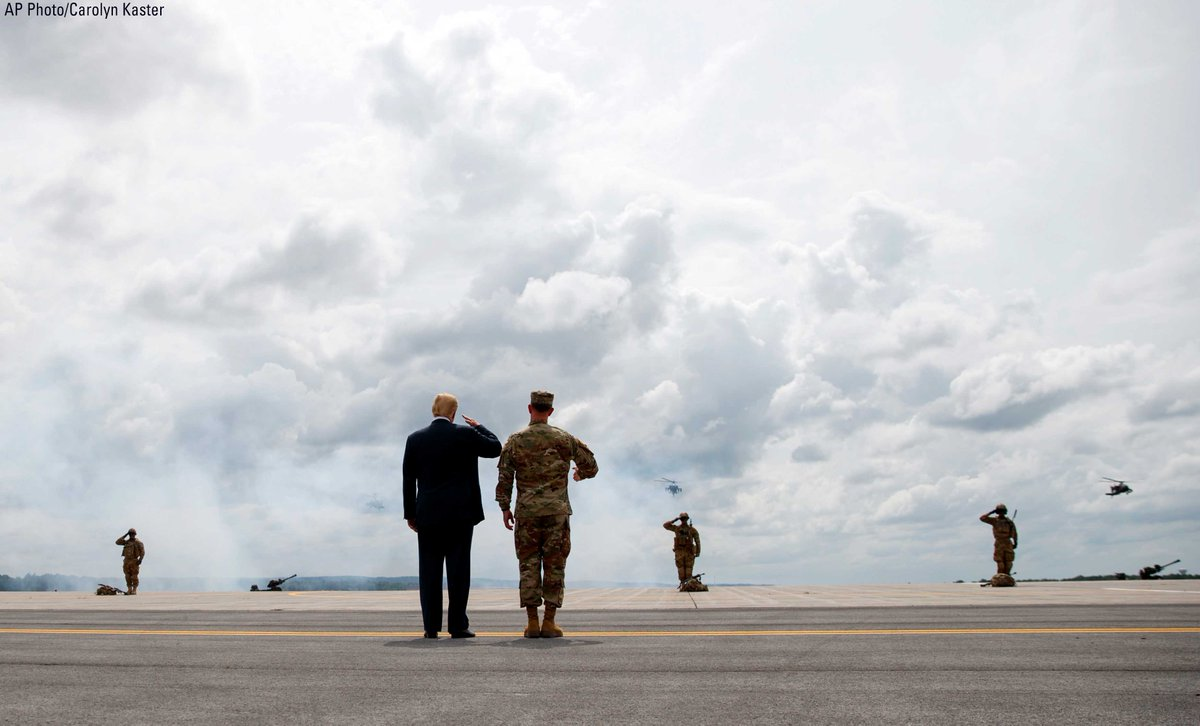 President @realDonaldTrump and Maj. Gen. Walter Piatt view air assault exercises at Fort Drum before a signing ceremony for a $716 billion defense policy bill named for Sen. John McCain.