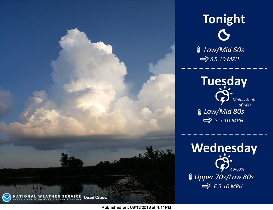 One more quiet evening before shower/storm chances return for Tuesday and Wednesday. #iawx #ilwx #mowx