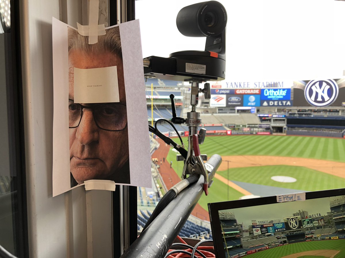 Here's the actual view from the espn booth for Mets Yankees tonight. Yes that is Mr Kuiper with a warning to the left