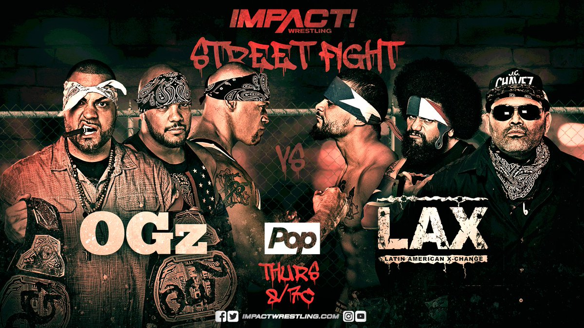 THIS THURSDAY on IMPACT - LAX and the OGz take things to the streets, @TheSamiCallihan faces @PENTAELZEROMs brother @ReyFenixMx, @AllieImpact looks to stop The Undead Bride and The Smoke Show debuts! You cant miss it! #IMPACTonPop
