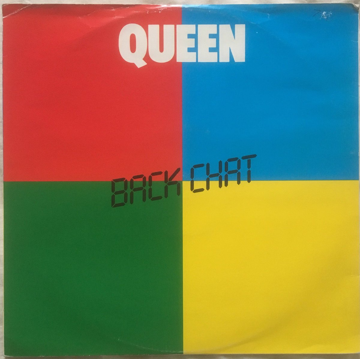 """226/ """"Backchat"""": UK 12"""" extended version. Queen's 1st 12"""" in the U.K released in 1982. A funk vibe from John it only made no 40 in the U.K. but no 3 in France! #Queen #FreddieMercury #BrianMay #JohnDeacon #RogerTaylor<br>http://pic.twitter.com/GU9tTxWqWA"""