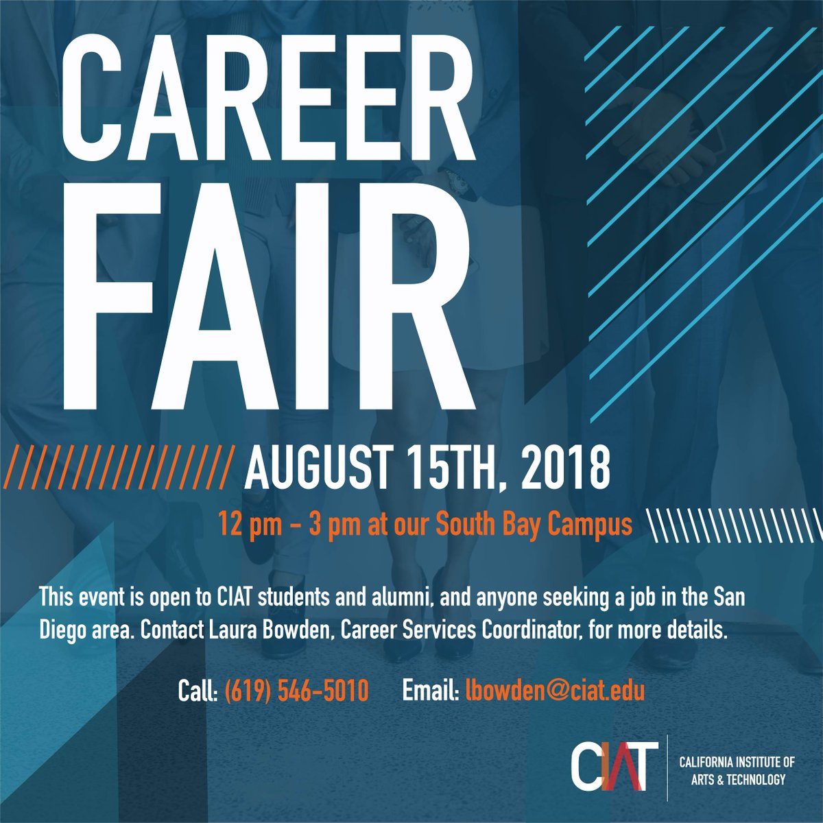 Join us this Wednesday for a Career Fair event at our South Bay Campus! Meet with local employers and discover new opportunities at this exciting event! Make sure you bring copies of your resume. See you there! #gociat #techschool #careersintech #networkingevent #CIAT<br>http://pic.twitter.com/i9huaVeyoC