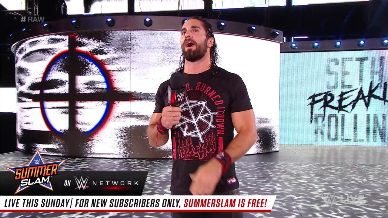 .@WWERollins decided he wants a LUNATIC in his corner at #SummerSlam! #RAW @TheDeanAmbrose https://t.co/u7GQIJxGDe