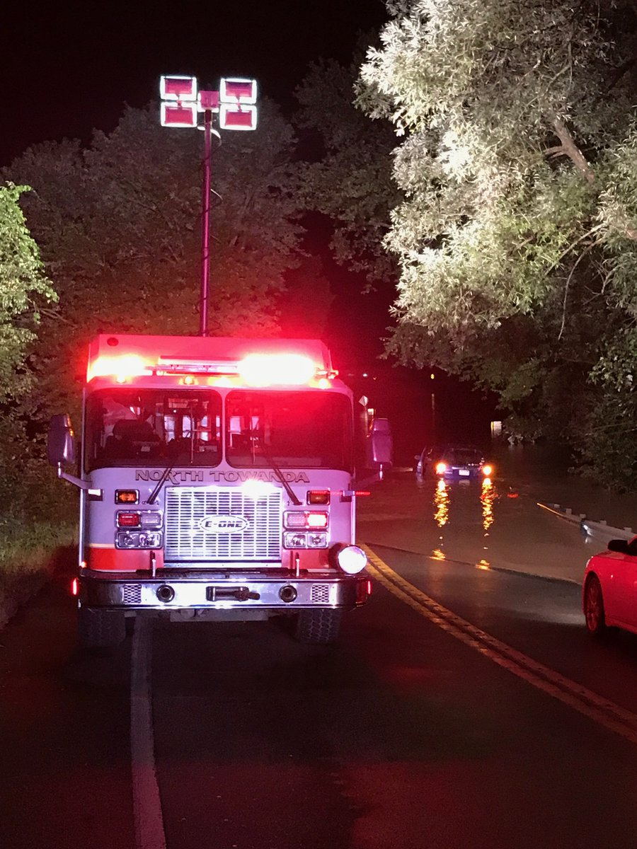 Crews from Company 21 along with North Towanda Fire &amp; Rescue and Towanda Fire Department, are beginning to clear the scene of a water rescue on Route 6 in Burlington Township. We beg you, do not drive through road closed signs, flashing lights, or water! Turn around, don't drown! <br>http://pic.twitter.com/0Sk6mWftoH