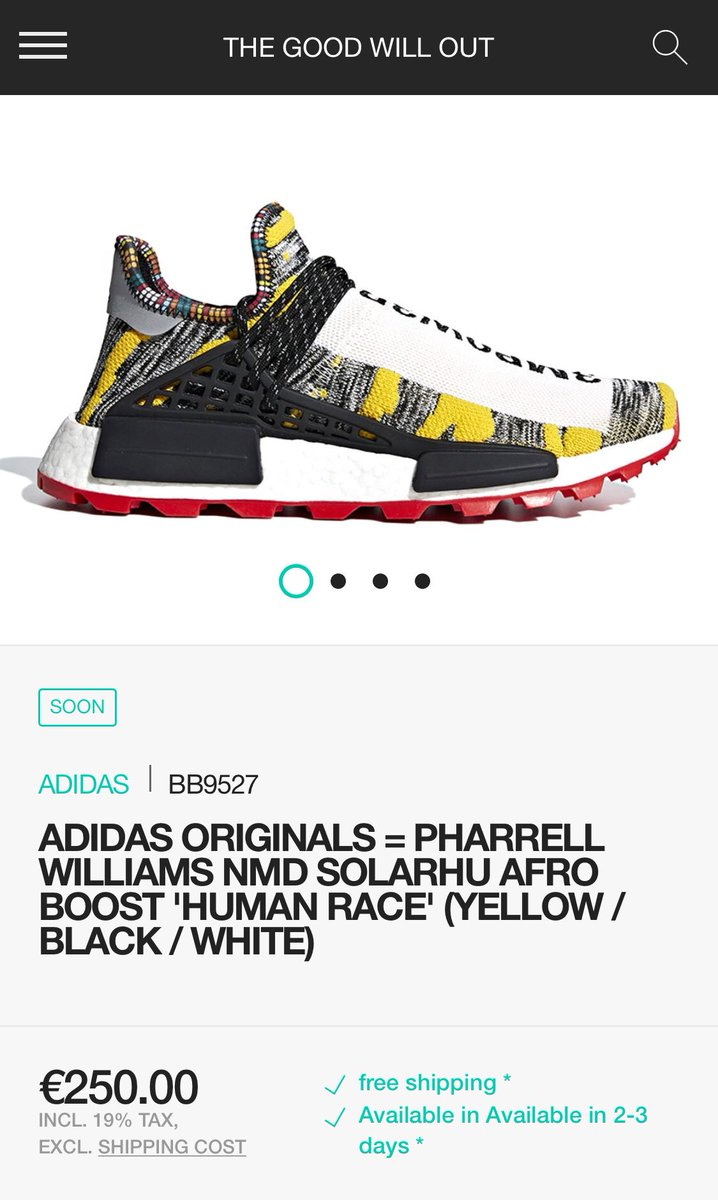"ad68f2868 Pharrell x adidas NMD HU ""Afro Pack"" drops online 8 18 via thegoodwillout  BB9527 https   bit.ly 2MmynkT BB9528 https   bit.ly 2nCYs0Y BB9531 ..."