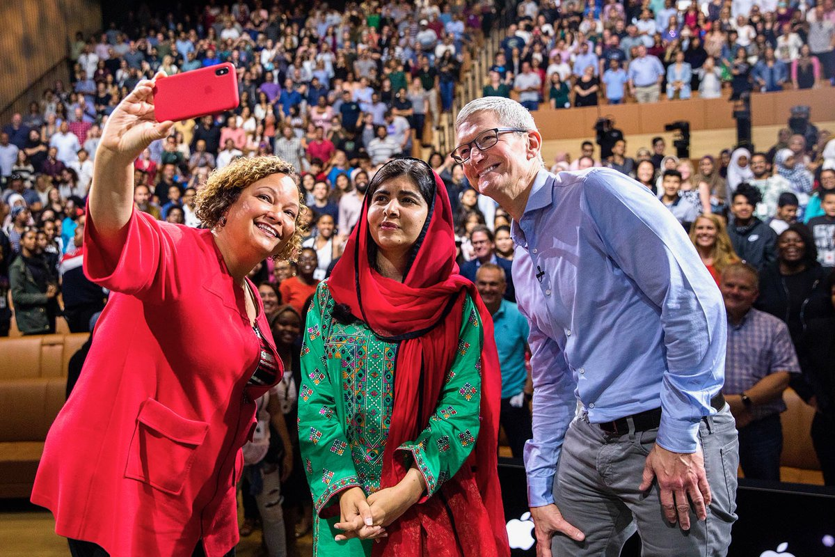 """""""If you stand for truth, you cannot lose."""" Honored to host @Malala at Apple Park today with @lisapjackson. We are proud of the work Apple is doing with @MalalaFundFund to advance girls' education around the world."""