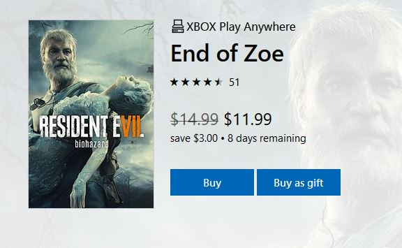 RE 7 End of Zoe DLC (X1) $11.99 via Xbox Live. https://t.co/8ZMOPQ0532 https://t.co/AQPuyaBmol