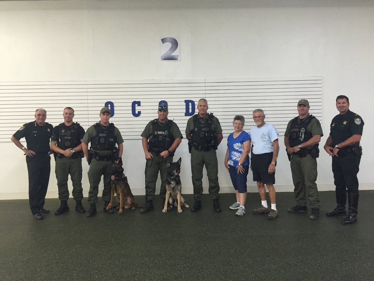 Thank you Obedience Club Of Daytona! Last year they presented VCSO with infrared beacons so Air One can track our deputies from the sky during searches. Tonight they donated safety muzzles! We are so grateful for the support from these folks.<br>http://pic.twitter.com/vDhyOjPqeM