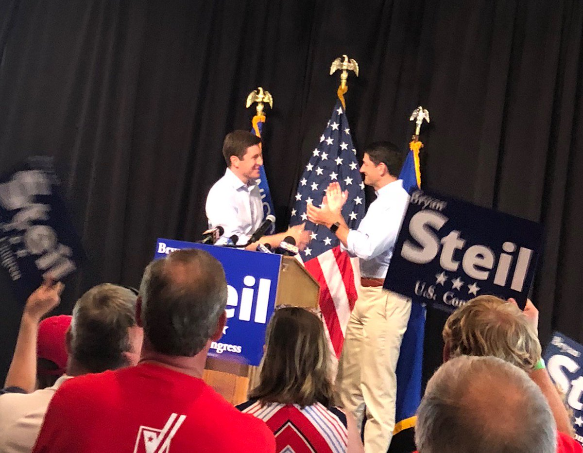 Energized crowd tonight at a rally for @BryanSteilForWI in Burlington. Hope everyone in #WI01 gets out tomorrow to vote for him.<br>http://pic.twitter.com/xikqXp5uBk