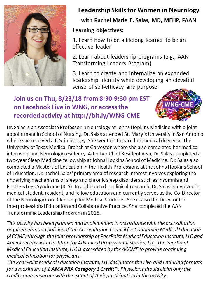 Save the Date and join us on Facebook Live for the 2nd edition of WNG-CME with @RachelSalasMD to talk about #leadership skills! #MedEd #WomenInNeurology #WomenInLeadership <br>http://pic.twitter.com/6ryfaIj7Jg