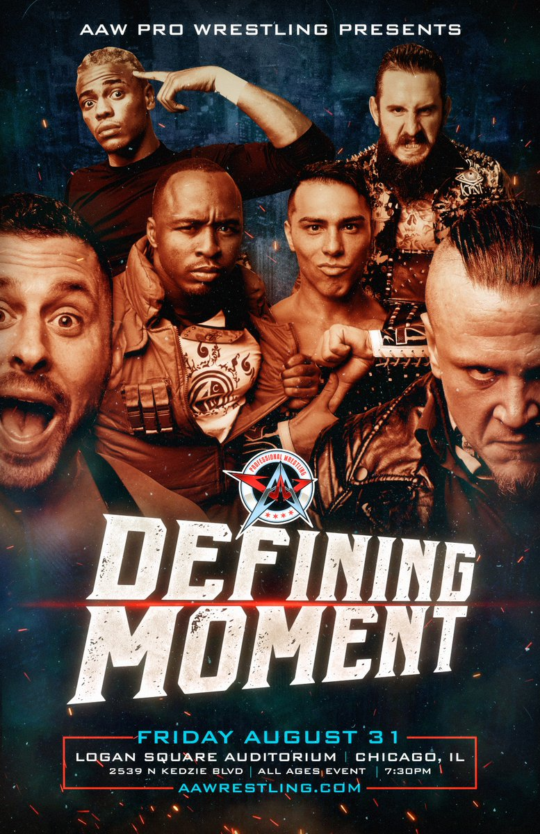 Talent added to Defining Moment on 8/31 at the Logan Square Auditorium: @TLee910  @LuchadorBandido  @flamita_dtu  @The_MJF  @JimmyJacobsX  @RealJeffCobb  @BestiesITW  @Lady_Scarlett13  This event is SOLD OUT!!!<br>http://pic.twitter.com/pAdfhLTeRU