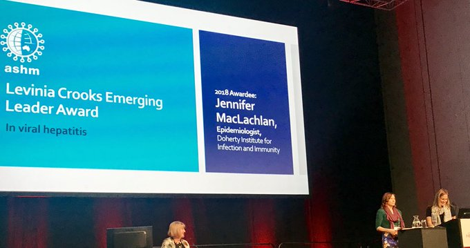 Congratulations to our very own Jenn MacLachlan on being awarded the inaugural Levinia Crooks Emerging Leader Award in #ViralHepatitis @ASHMMedia #VH18 Photo
