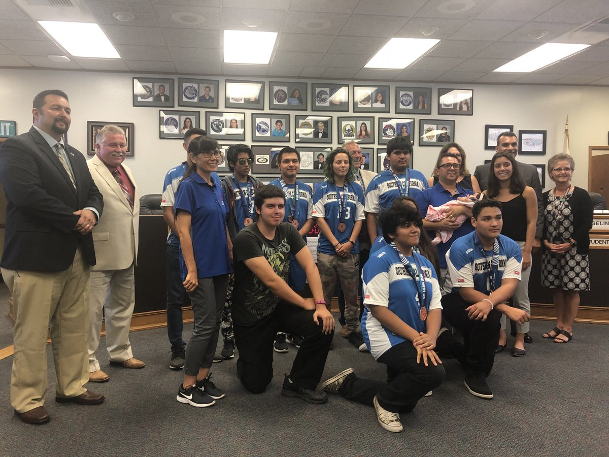 Our Board recognized the Southwest Unified Soccer Team for winning the bronze at @2018USAGames . It's also the first official picture with their new principal. Welcome to Southwest Principal Villanueva. @SOSoCal @SOSC_SanDiego #choosetoinclude #playunified #InclusionRevolution<br>http://pic.twitter.com/8HzABaHrMc &ndash; à SUHSD Board Room