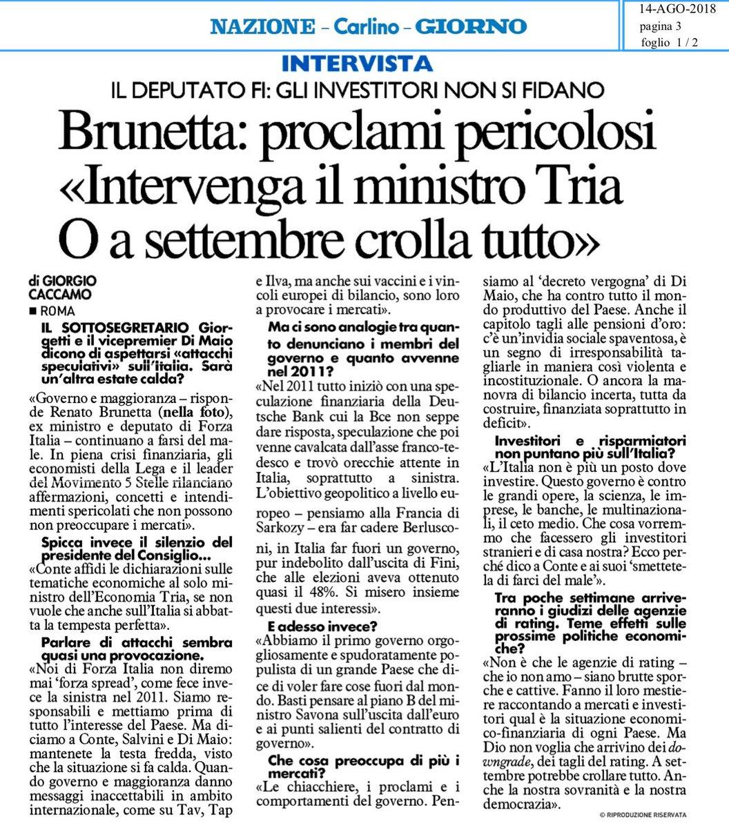 """""""Proclami pericolosi. Intervenga il ministro #Tria o a settembre crolla tutto""""La mia intervista a @qn_lanazione   http:// www.freenewsonline.it/?p=27052  - Ukustom"""
