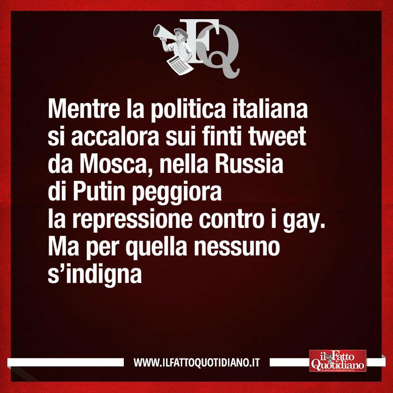 LA FRASE DI OGGIMentre la politica italiana si accalora sui finti tweet da Mosca, nella Russia di Putin peggiora la repressione contro i gay. Ma per quella nessuno s'indigna [Continua su  https:// www.ilfattoquotidiano.it/premium/] #FattoQuotidiano #edicola #14agosto  - Ukustom