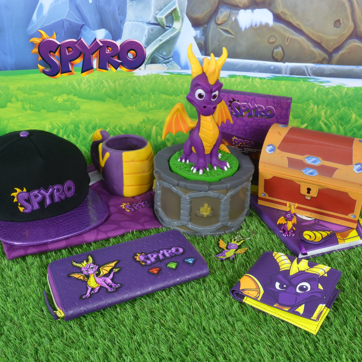 Our official #SpyrotheDragon merchandise range is NOW AVAILABLE TO PREORDER WORLDWIDE!  Shirts, mugs, wallets, purses, pin badges, snapbacks, and even an incense burner!   This is the ultimate #SpyroMerch collection - preorder yours while stocks last now:  https:// bit.ly/2MHWJTc  &nbsp;  <br>http://pic.twitter.com/HqK6fIFfW8