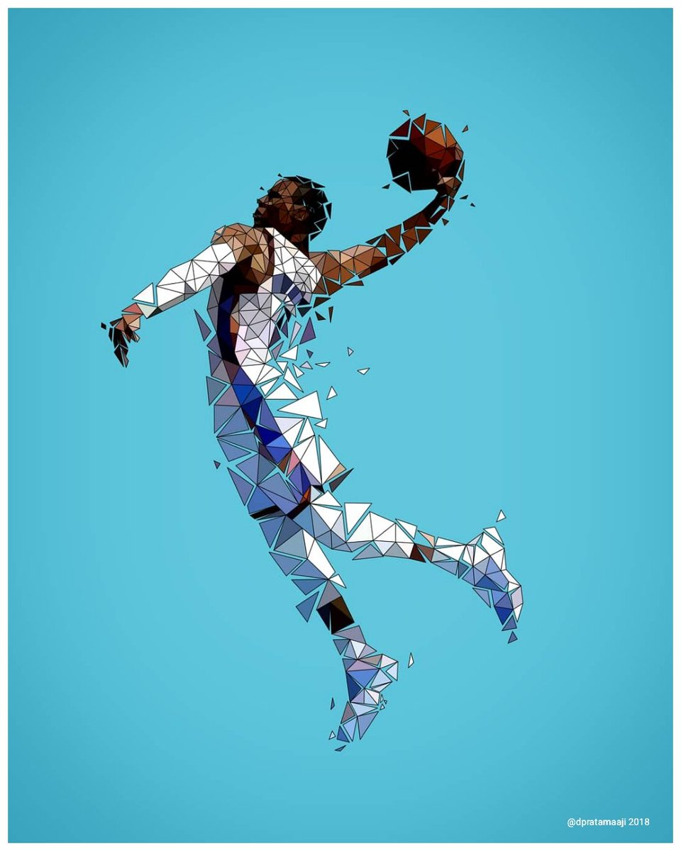 Russell Westbrook, low poly illustration.
