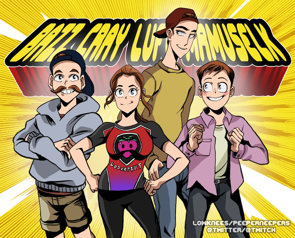 so @BazzaGazza and @Crayator were talking about anime openings on stream the other day and this is no animated opening, but i thought it would be fun to draw the gang in bnh style! hope ya&#39;ll like it! @Loserfruit @MrMuselk<br>http://pic.twitter.com/8tCY70DMEJ