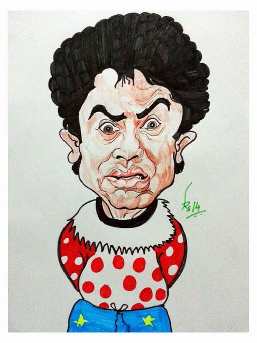 Happy birthday Bawa Johnny Lever Caricature with colr pens and pencils on A4 paper
