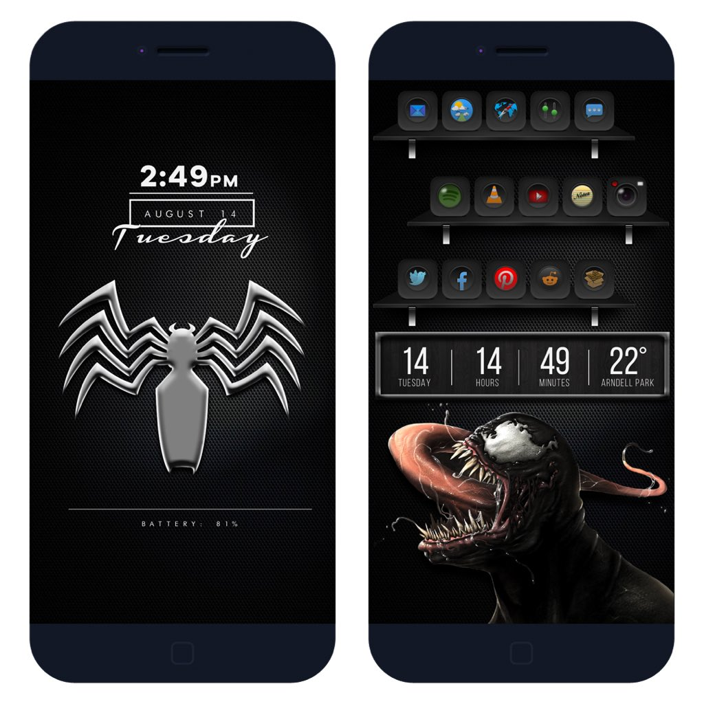 WE ARE VENOM!!  Theme #Darkside by @SteveMeyer420   LS widget by @ev_ynw   HS widget by @daddykool666   Applied using #xenhtml by @_Matchstic   Brought together with the awesome tweaks #hideststusbars #frontpage and #mysb by @JunesIphone   Walls by me <br>http://pic.twitter.com/rJqTnCBw1s