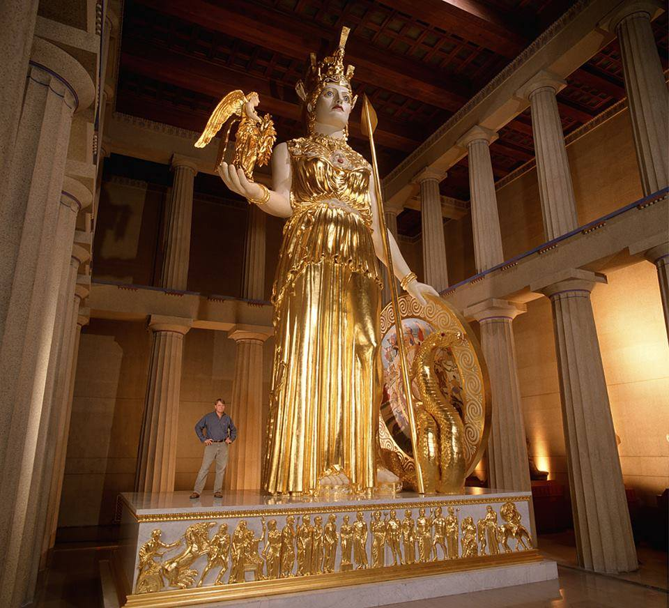 Phidias&#39; Athena Parthenos that stands in the naos of the full-scale reconstruction of the Acropolis Parthenon in Nashville&#39;s Centennial park. Made by American sculptor Alan LeQuire.* <br>http://pic.twitter.com/41MDx2RjDp